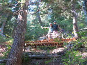Estrutura em madeira da Trilha Lord of squirrels em Whistler